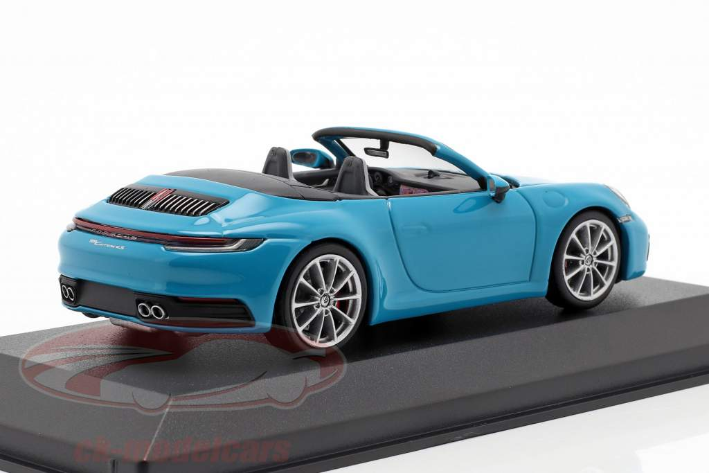 Porsche 911 (992) Carrera 4S Cabriolet Opførselsår 2019 Miami blå 1:43 Minichamps