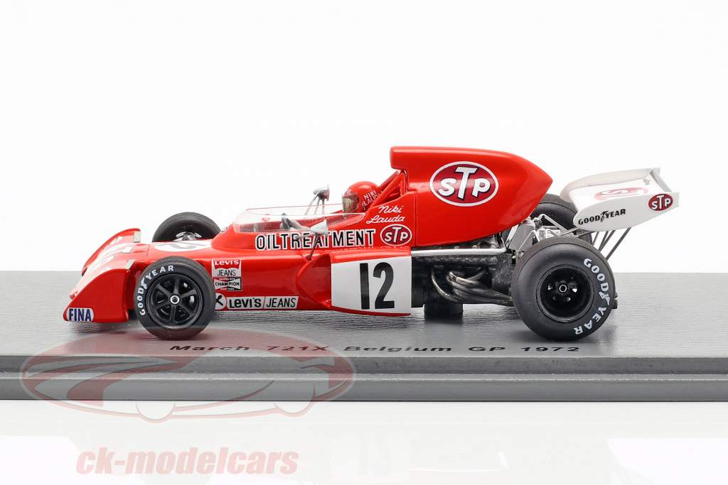 Niki Lauda March 721X #12 belgisk GP formel 1 1972 1:43 Spark