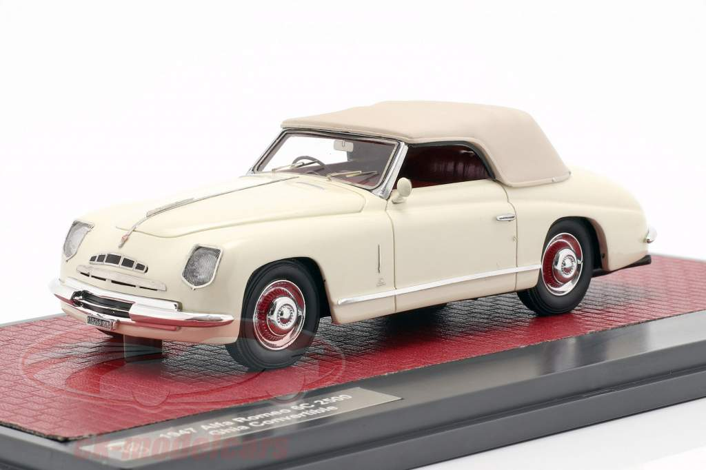 Alfa Romeo 6C 2500 Ghia convertible Closed Top 1947 crema blanco 1:43 Matrix