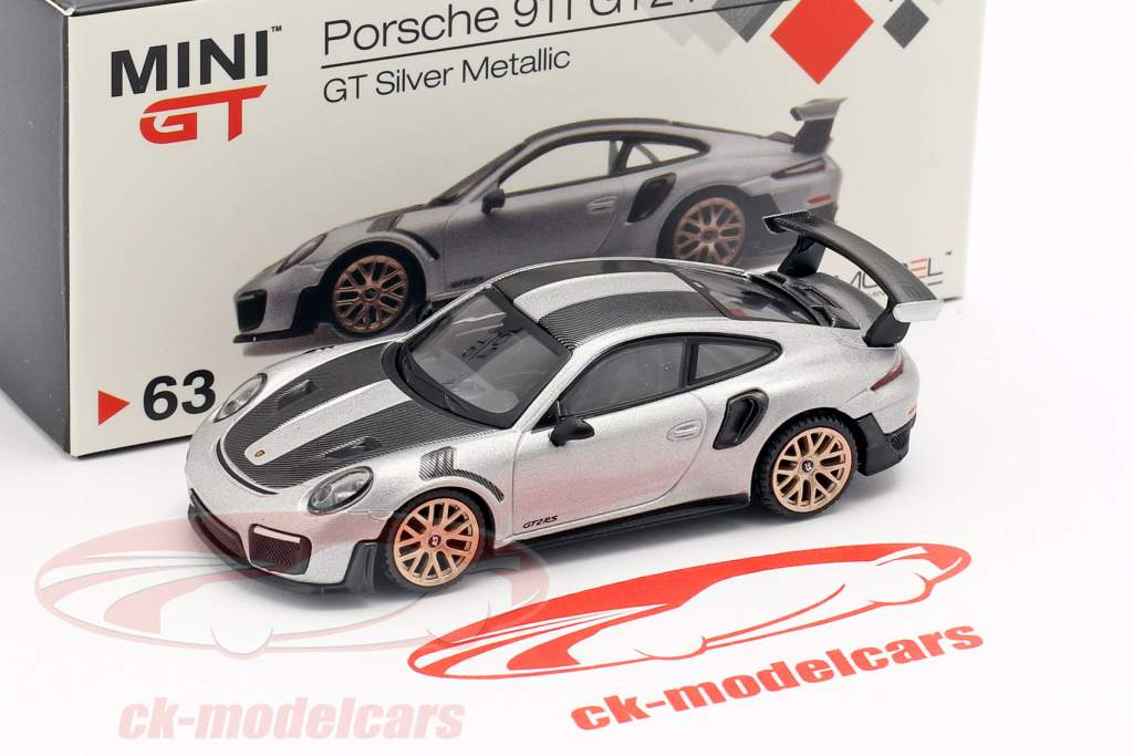 Porsche 911 (991 II) GT2 RS Weissach Package LHD prata metálico 1:64 TrueScale