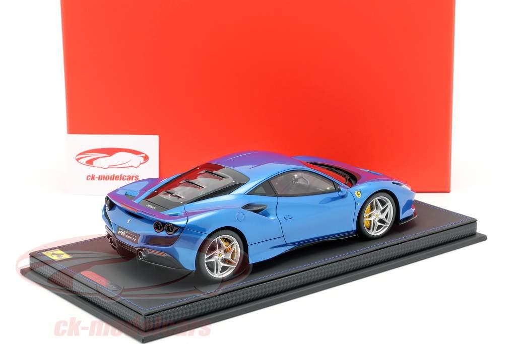 Ferrari F8 Tribute ginebrino Salón del automóvil 2019 corsa azul metálico 1:18 BBR