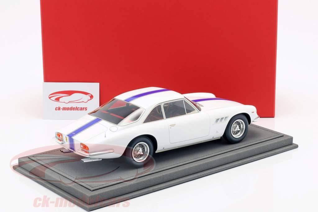 Ferrari 500 Superfast Series II year 1965 white with blue stripe 1:18 BBR