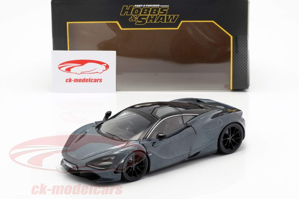 Shaw's McLaren 720S filme Fast & Furious Hobbs & Shaw (2019) cinza metálico 1:24 Jada Toys