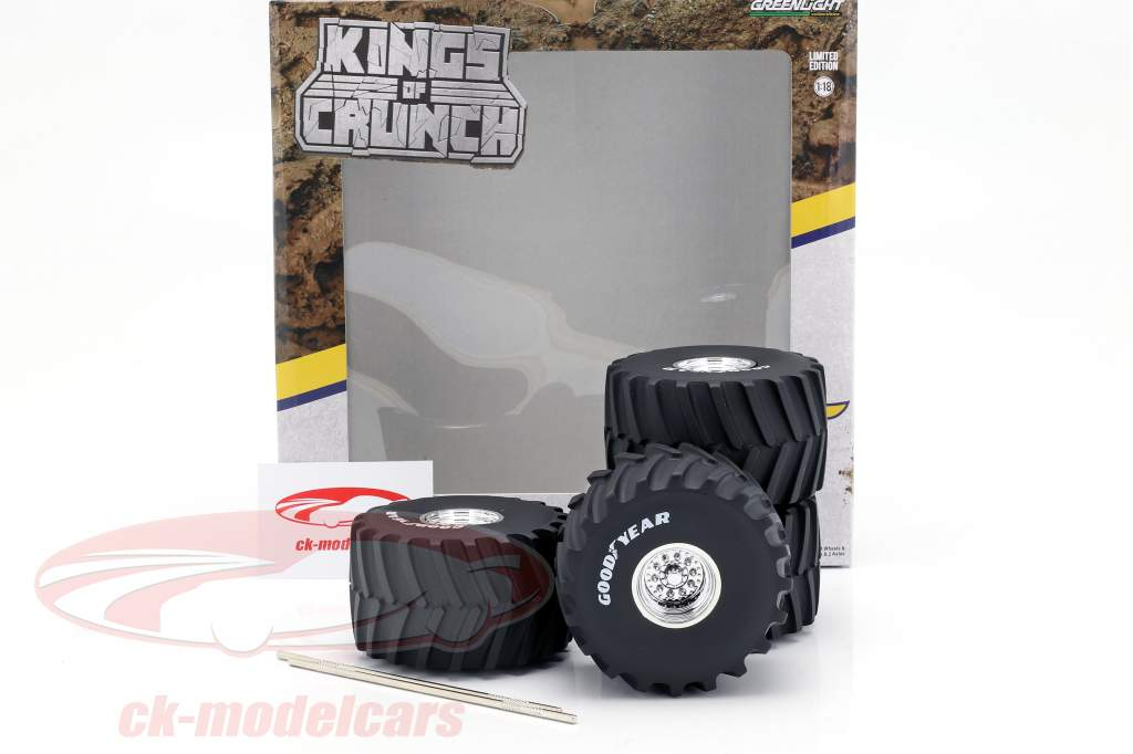 Monster Truck 66-inch Reifen & Felgen Set Goodyear 1:18 Greenlight