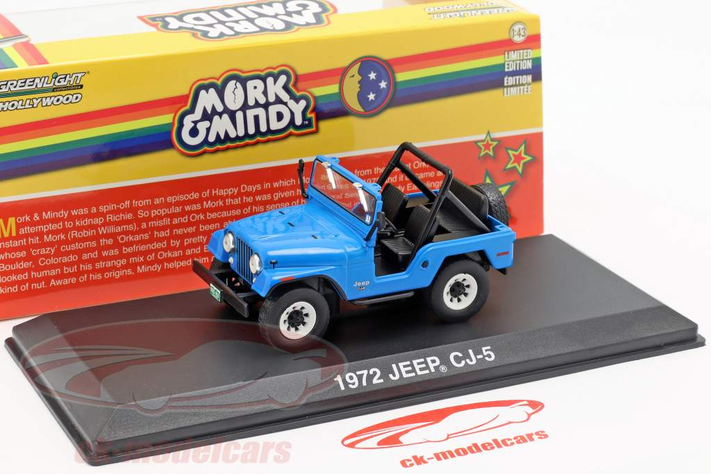 Jeep CJ-5 1972 série de TV Mork & Mindy 1978-82 azul 1:43 Greenlight