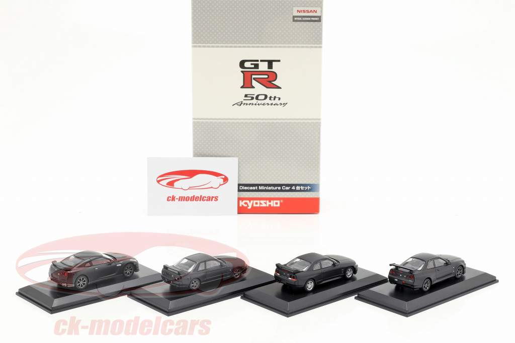 4-Car Set Nissan GT-R 50th jubilæum 1:64 Kyosho