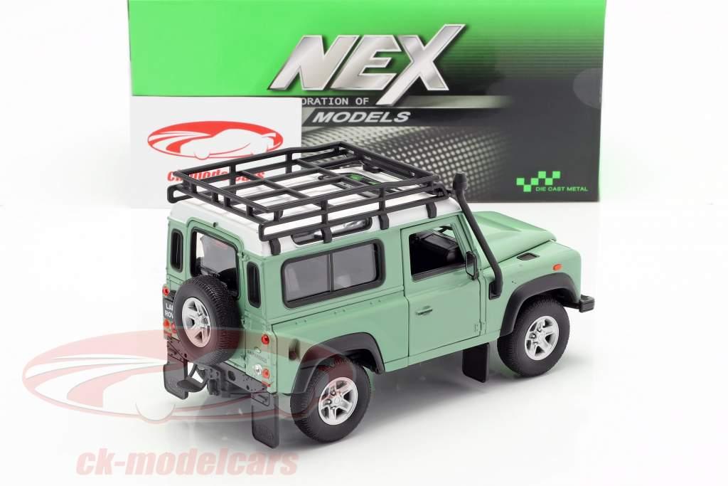 Land Rover Defender con tejado estante verde / blanco 1:24 Welly