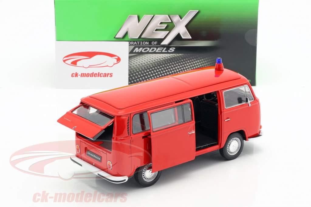 Volkswagen VW T2 Bus vigili del fuoco anno di costruzione 1972 rosso 1:24 Welly