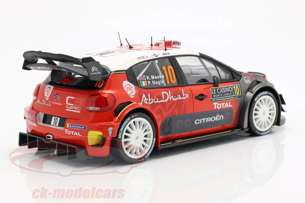 Citroen C3 WRC #10 cuarto Rallye Monte Carlo 2018 Meeke, Nagle 1:18 Norev