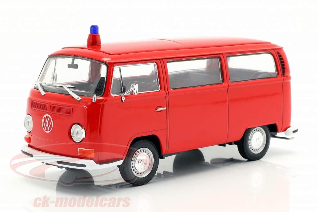 Volkswagen VW T2 Bus brandvæsen Opførselsår 1972 rød 1:24 Welly