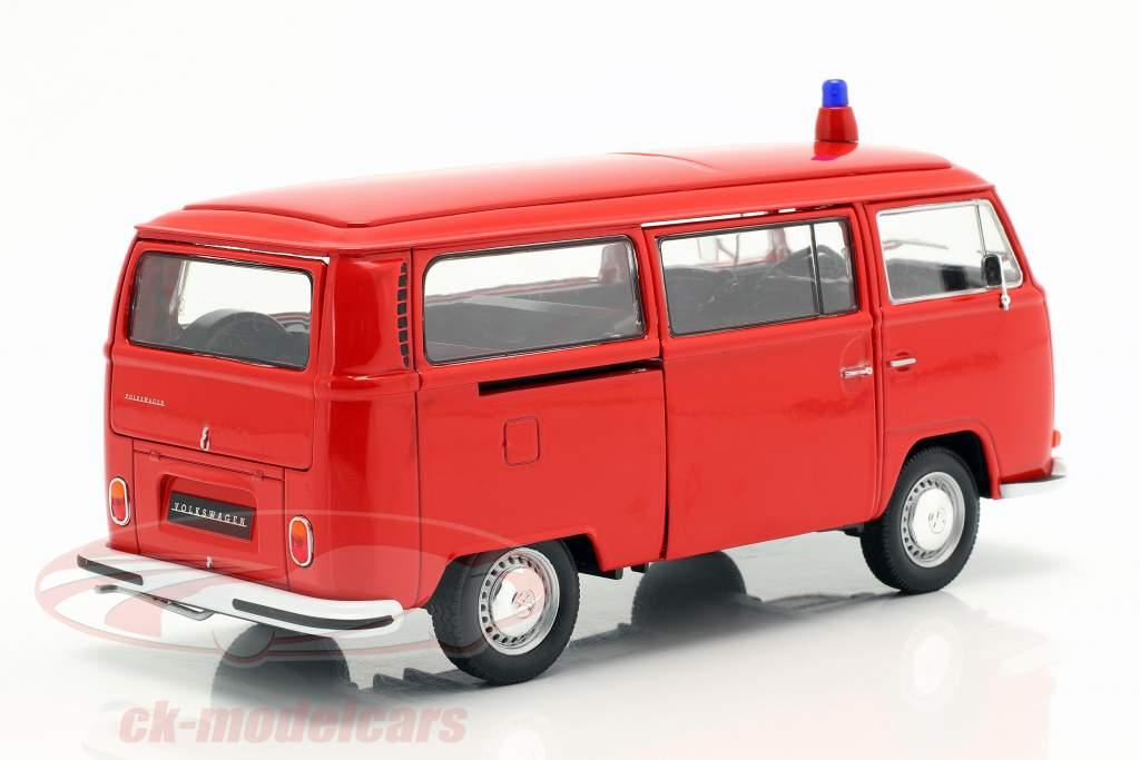 Volkswagen VW T2 Bus departamento de bomberos año de construcción 1972 rojo 1:24 Welly