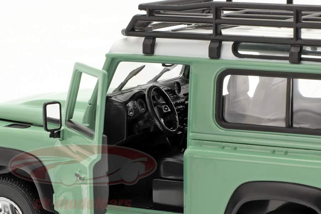 Land Rover Defender med tag rack grøn / hvid 1:24 Welly