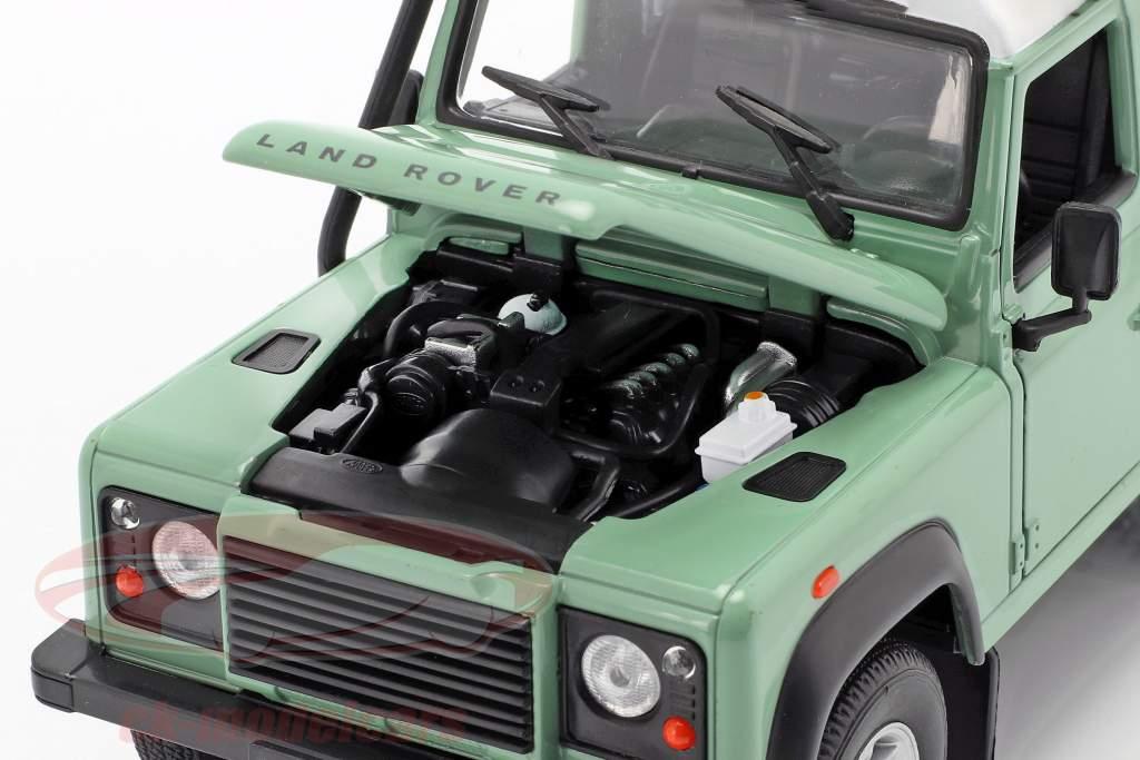 Land Rover Defender com telhado cremalheira verde / branco 1:24 Welly