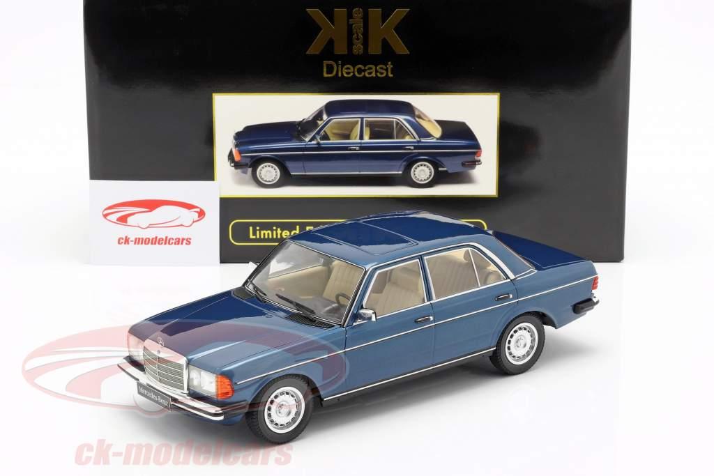 Mercedes-Benz 280E (W123) anno di costruzione 1977 blu scuro metallico 1:18 KK-Scale