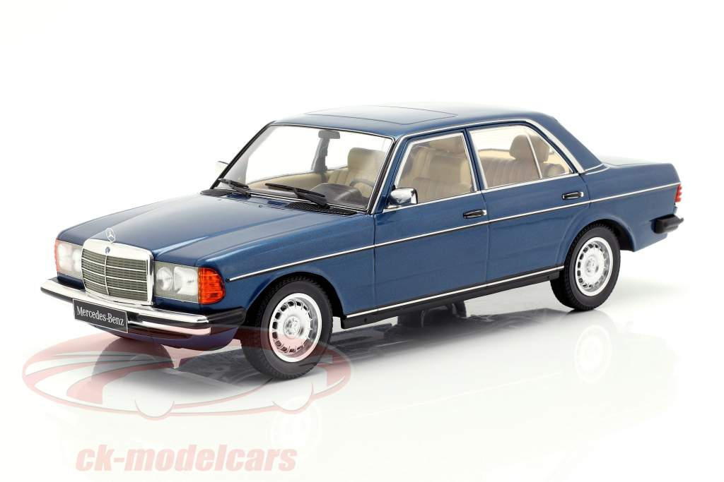 Mercedes-Benz 280E (W123) año de construcción 1977 azul oscuro metálico 1:18 KK-Scale