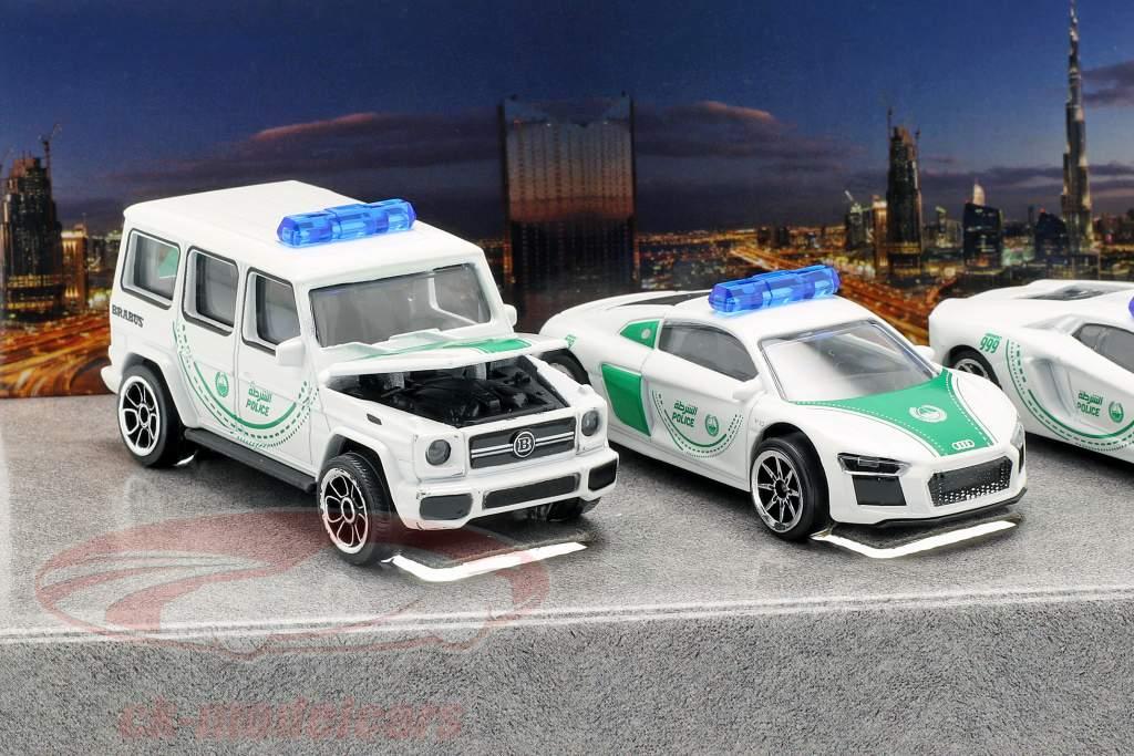 5-Car Set Dubai Police white / green 1:64 Majorette