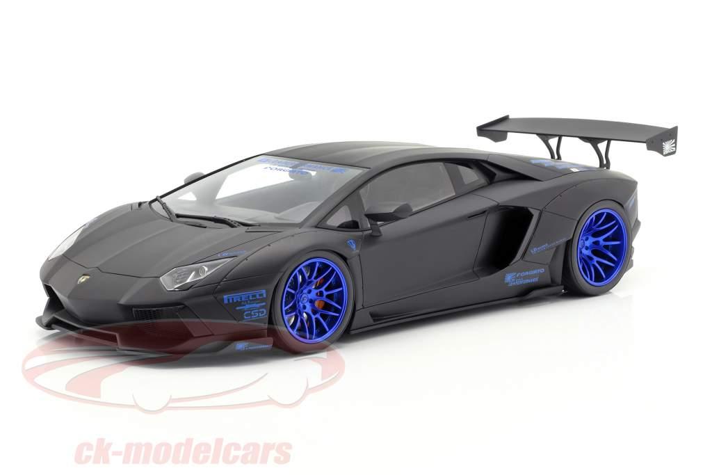 Lamborghini Aventador LB-Works Bouwjaar 2017 mat zwart / blauw 1:12 GT-Spirit
