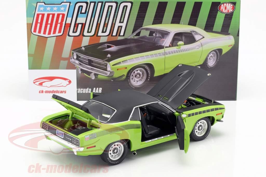 Plymouth Barracuda AAR med vinyl tag Opførselsår 1970 sublime grøn 1:18 GMP