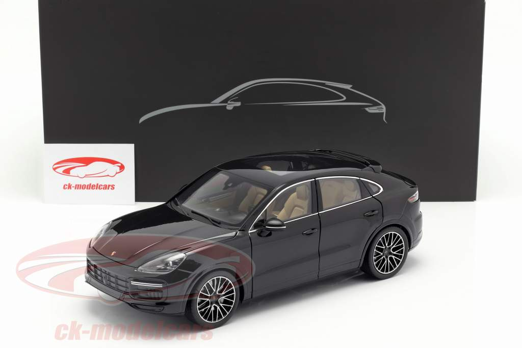 Porsche Cayenne Turbo Coupe 2019 dyb sort metallisk med udstillingsvindue 1:18 Norev