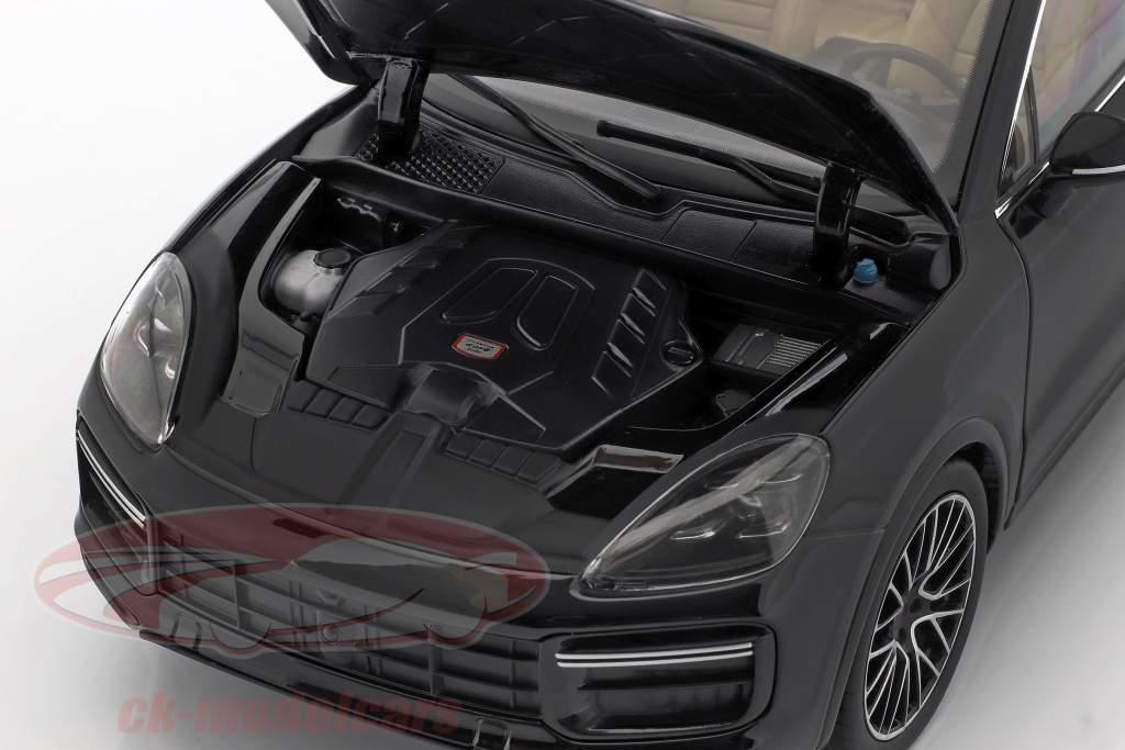 Porsche Cayenne Turbo Coupe 2019 profundo preto metálico com mostruário 1:18 Norev