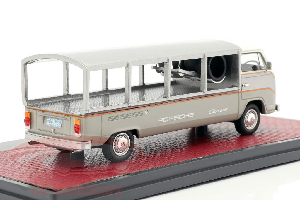 Volkswagen VW T2 Race Transporter year 1976 white / grey 1:43 Matrix