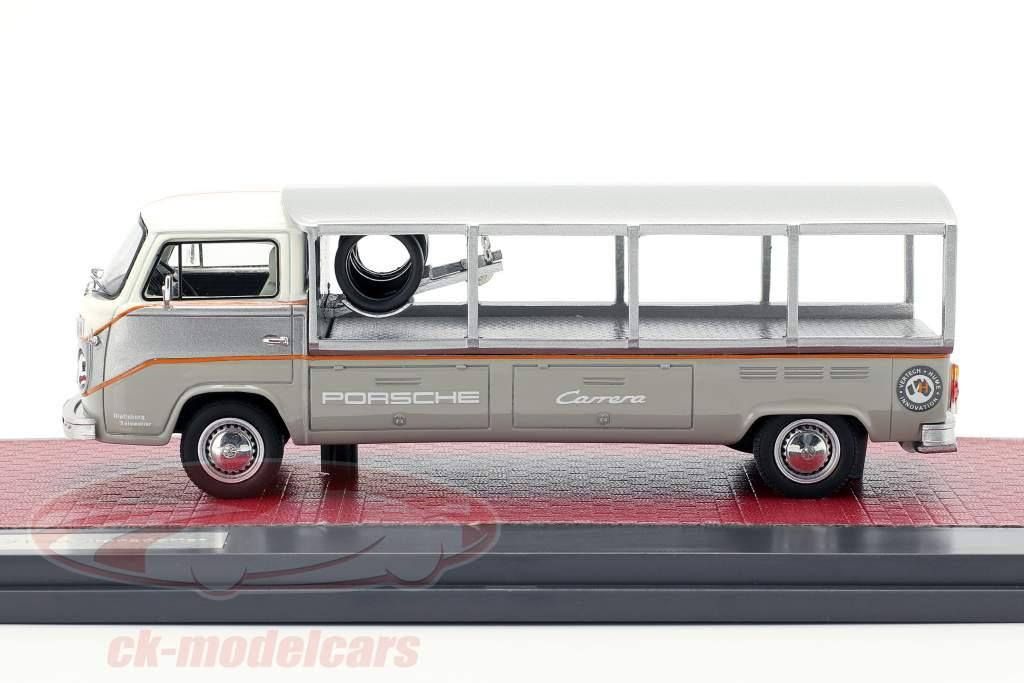 Volkswagen VW T2 Race Transporter año de construcción 1976 blanco / gris 1:43 Matrix