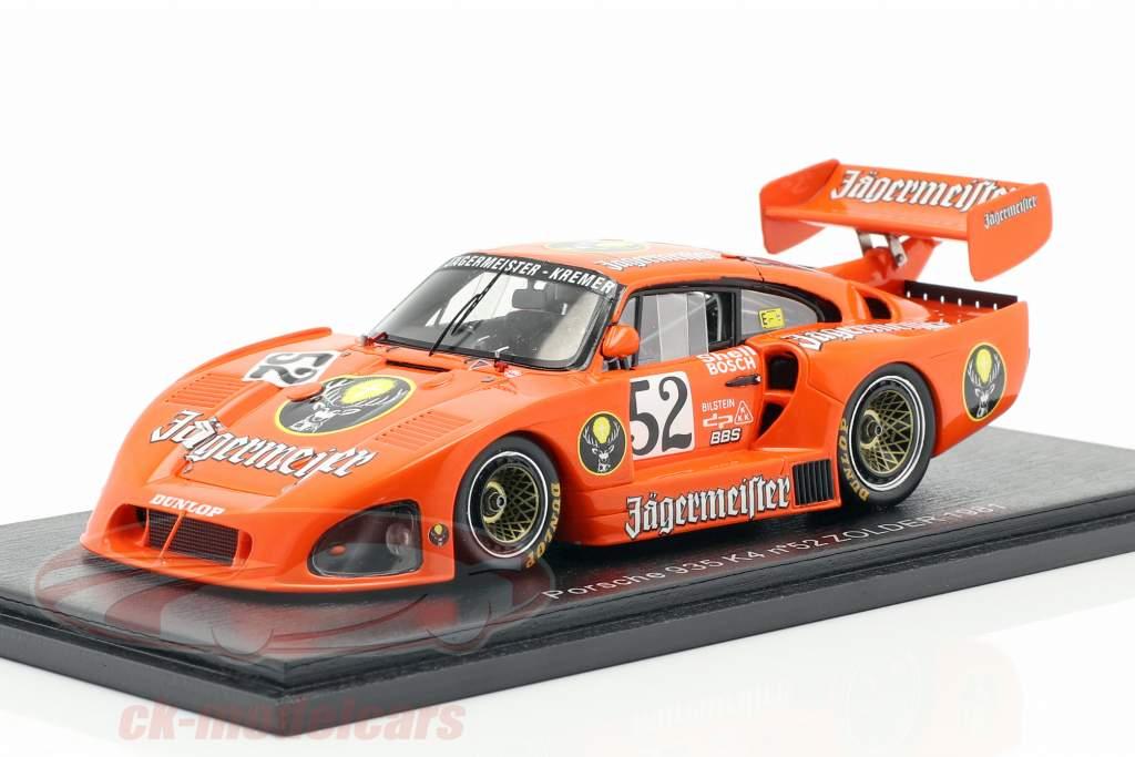 Porsche 935 K4 Jägermeister #52 2º Zolder DRM 1981 Bob Wollek 1:43 Spark