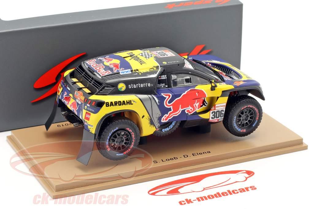 Peugeot 3008 DKR #306 3rd Dakar Rallye 2019 Loeb, Elena 1:43 Spark