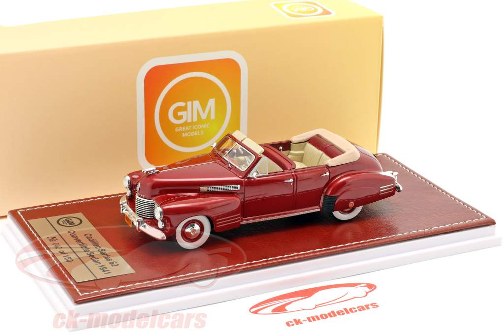 Cadillac Series 62 convertible Sedan Open Top 1941 granate metálico 1:43 Great Iconic Models