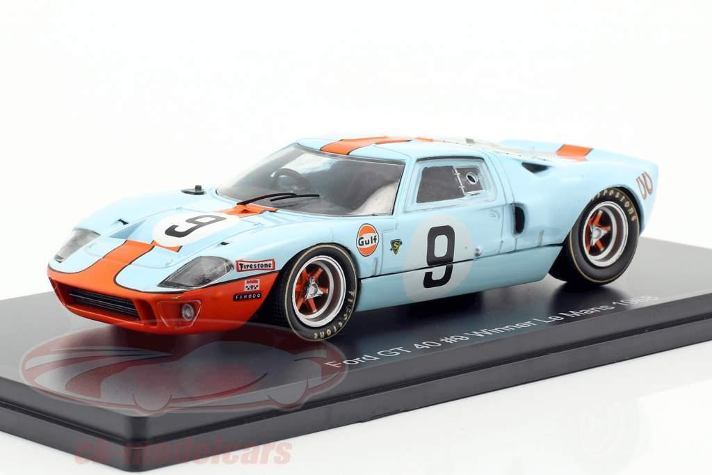 Ford GT 40 Gulf #9 winnaar 24h LeMans 1968 Rodriguez, Bianchi 1:43 Spark