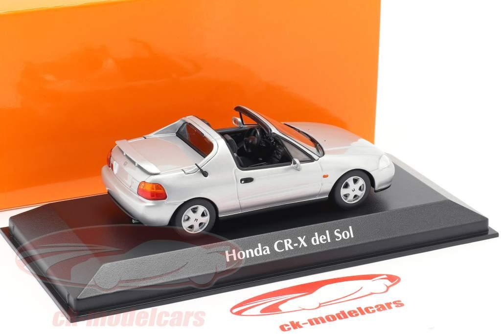 Honda CR-X del Sol Opførselsår 1992 sølv metallisk 1:43 Minichamps