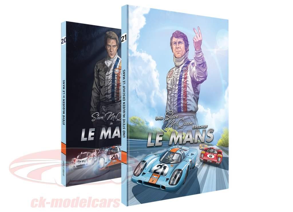 Comic-Set: Steve McQueen in LeMans + En Steve McQueen aangemaakt LeMans / door Sandro Garbo