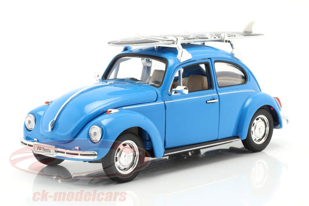 Volkswagen VW Kever Hard Top 1959 blauw Met zwart surfplank 1:24 Welly