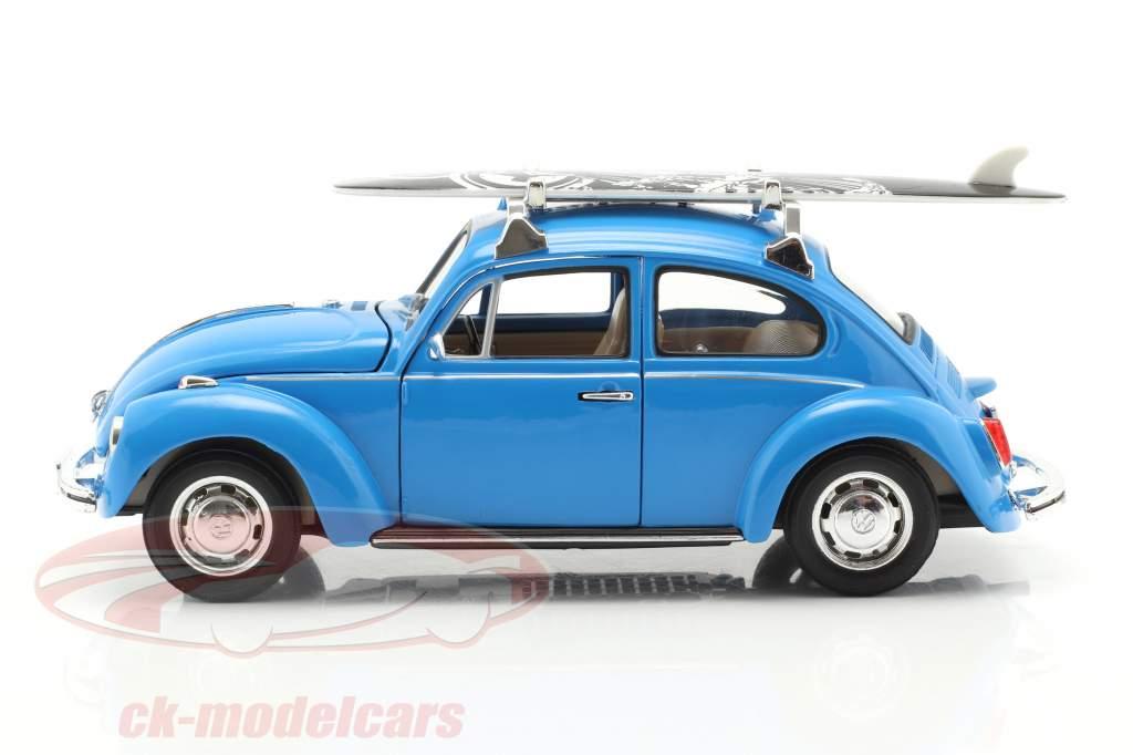 Volkswagen VW Scarabée Hard Top 1959 bleu Avec noir planche de surf 1:24 Welly