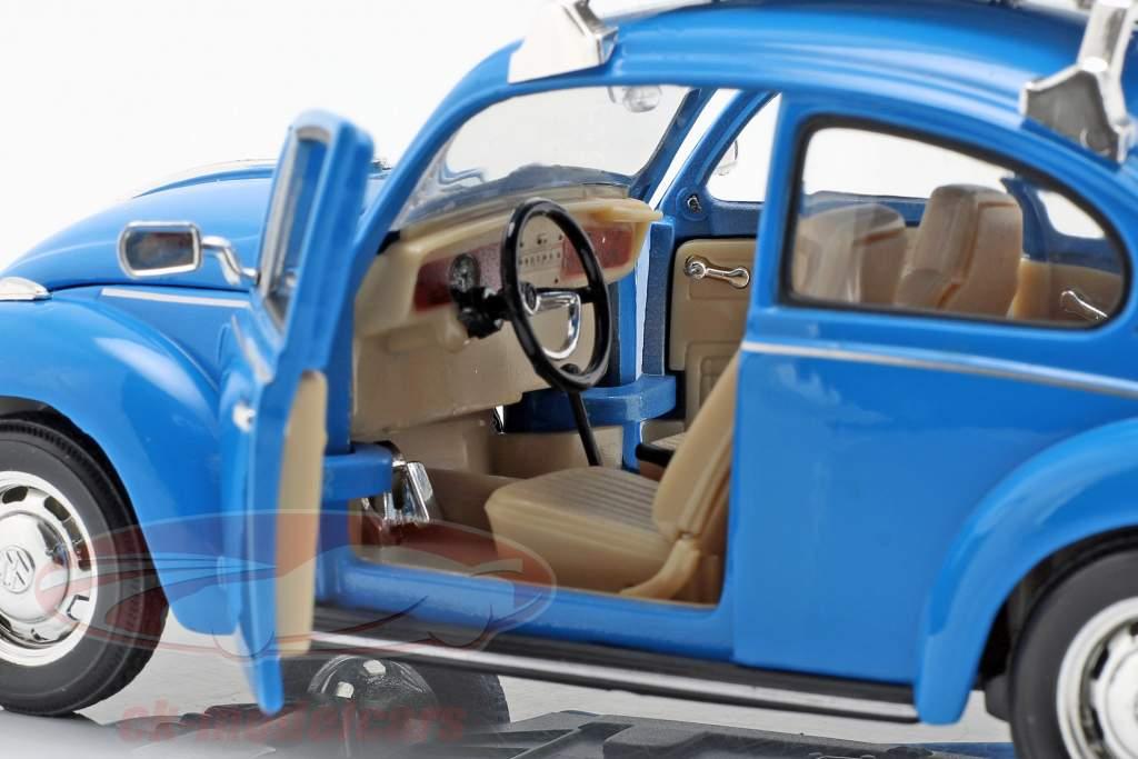 Volkswagen VW Käfer Hard Top 1959 blau mit schwarzem Surfbrett 1:24 Welly