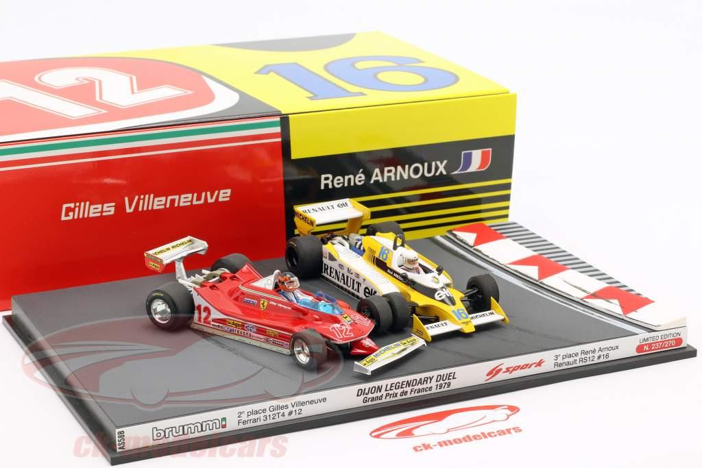 2-Car Set Ferrari 312T4 & Renault RS12 francês GP F1 1979 1:43 Brumm / Spark