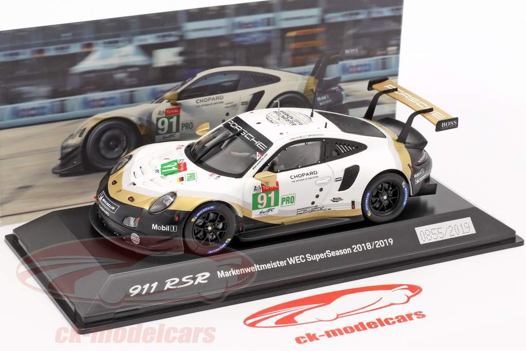 Porsche 911 RSR #91 campeón del mundo WEC SuperSeason 2018/2019 24hLeMans 1:43 Spark