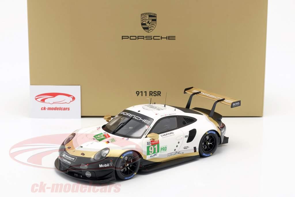 Porsche 911 RSR #91 Markenweltmeister 24h LeMans 2019 mit Vitrine 1:18 Spark