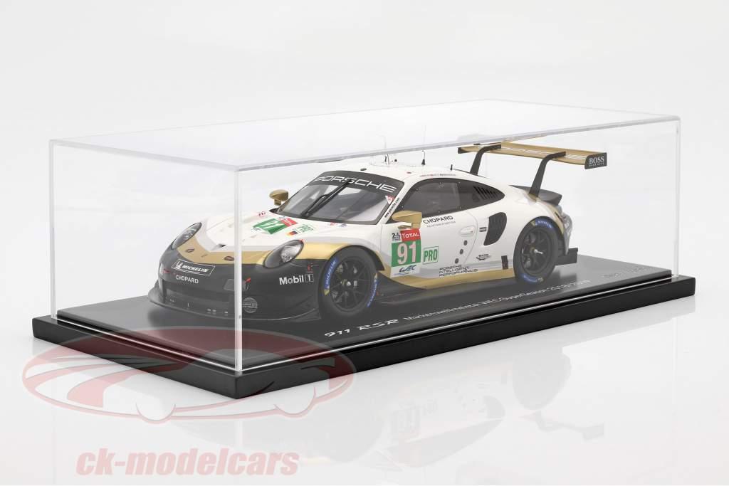 Porsche 911 RSR #91 campione di marca 24h LeMans 2019 con vetrina 1:18 Spark