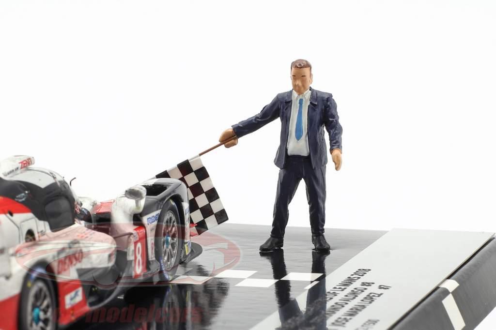2-Car Set Toyota TS050 Hybrid #8 & #7 slut 24h LeMans 2018 1:43 Spark