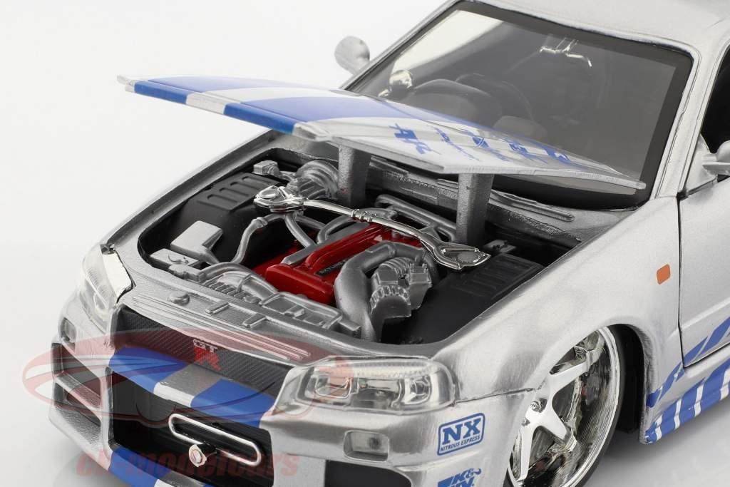 Brian's Nissan Skyline GT-R (R34) Película 2 Fast 2 Furious 2003 1:24 Jada Toys
