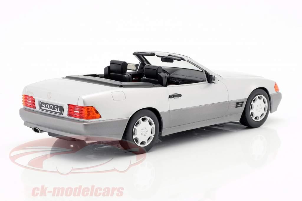 Mercedes-Benz 500 SL (R129) Bouwjaar 1993 zilver 1:18 KK-Scale