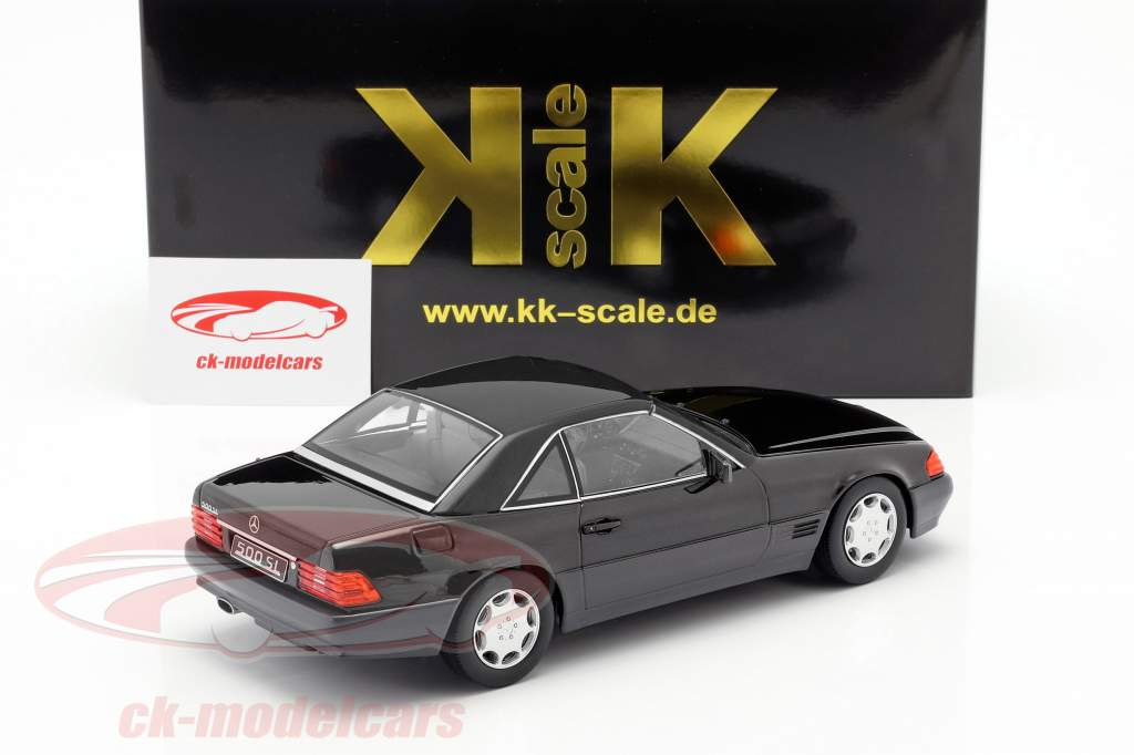 Mercedes-Benz 500 SL (R129) anno di costruzione 1993 nero metallico 1:18 KK-Scale