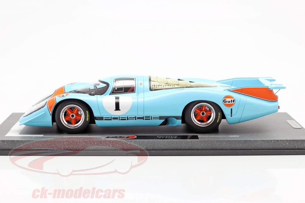 Porsche 917 LH #1 Gulf apresentação carro 1969 1:18 BBR