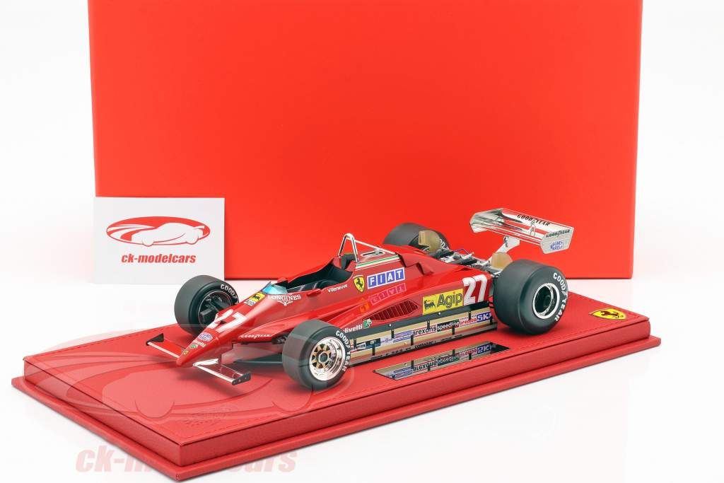 Gilles Villeneuve Ferrari 126 C2 #27 Bélgica GP fórmula 1 1982 com mostruário 1:18 BBR
