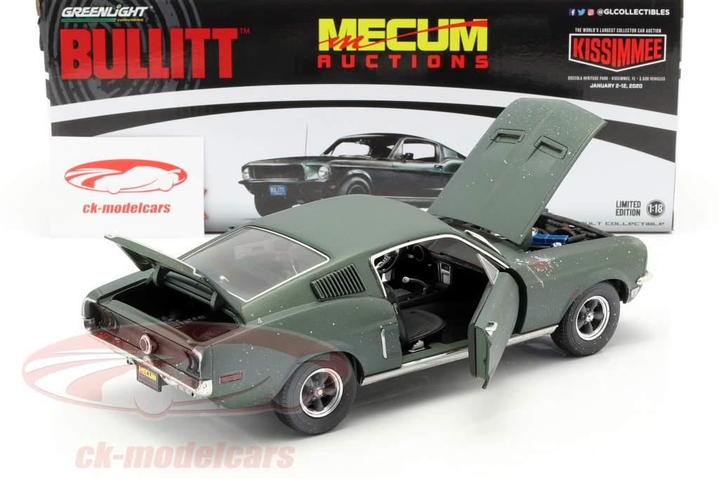 Ford Mustang GT Fastback unrestored Steve McQueen Movie Bullitt (1968) green 1:18 Greenlight