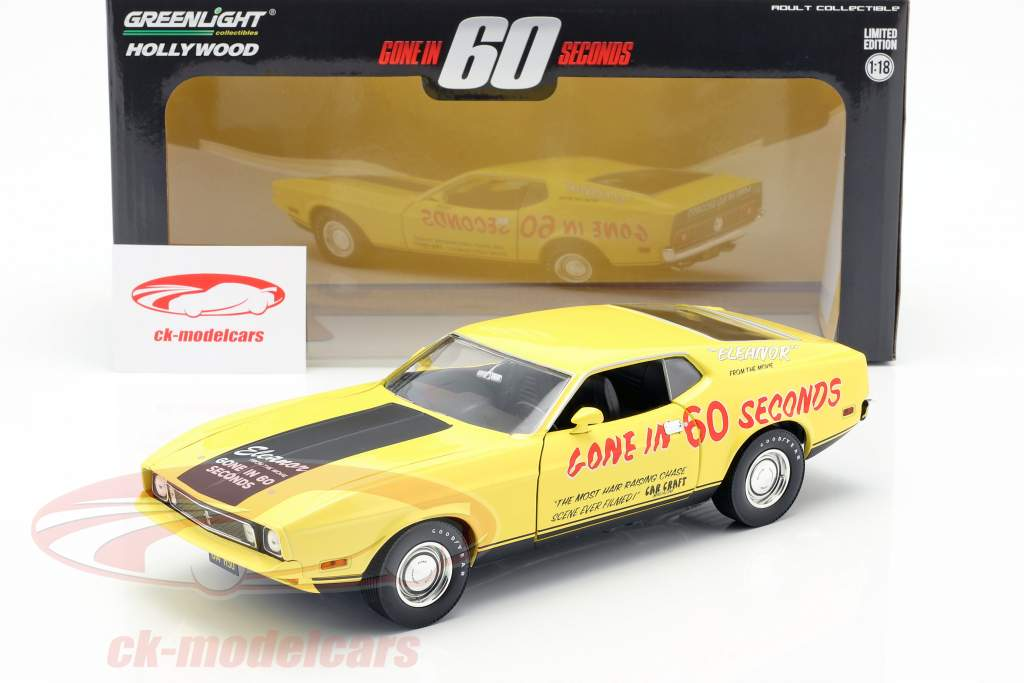 Ford Mustang Mach 1 Eleanor película Gone in 60 Seconds (1974) amarillo 1:18 Greenlight