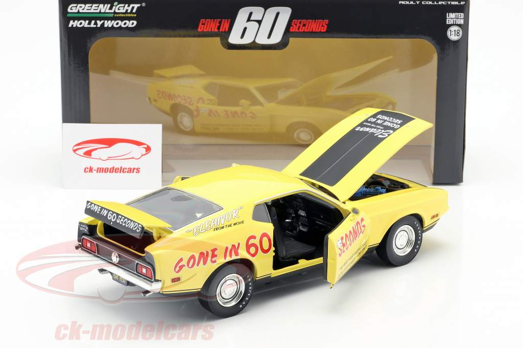 Ford Mustang Mach 1 Eleanor filme Gone in 60 Seconds (1974) amarelo 1:18 Greenlight