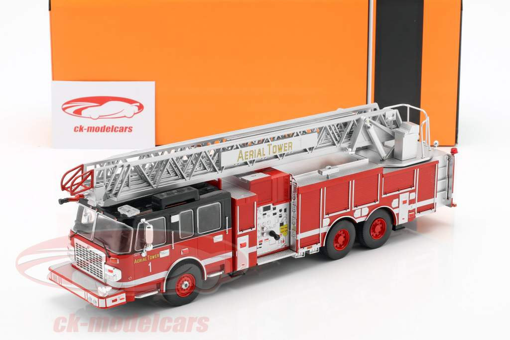 Smeal 105 Aerial Ladder fire Department year 2015 red / black 1:43 Ixo