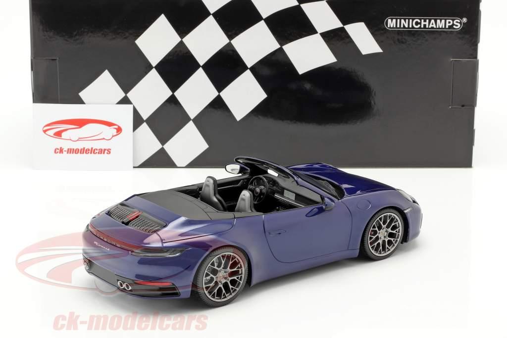 Porsche 911 (992) Carrera 4S Cabriolet 2019 blau metallic 1:18 Minichamps